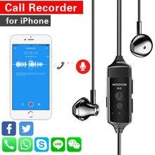 Chamada gravador de fone de ouvido para iphone whatsapp linha skype chamadas zoom reunião classe on-line app dispositivo gravação voz fone de ouvido