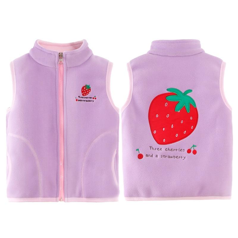 2-6Yrs Children Baby Girls Autumn Fleece Vest Kids Winter Waistcoat With Zipper 3