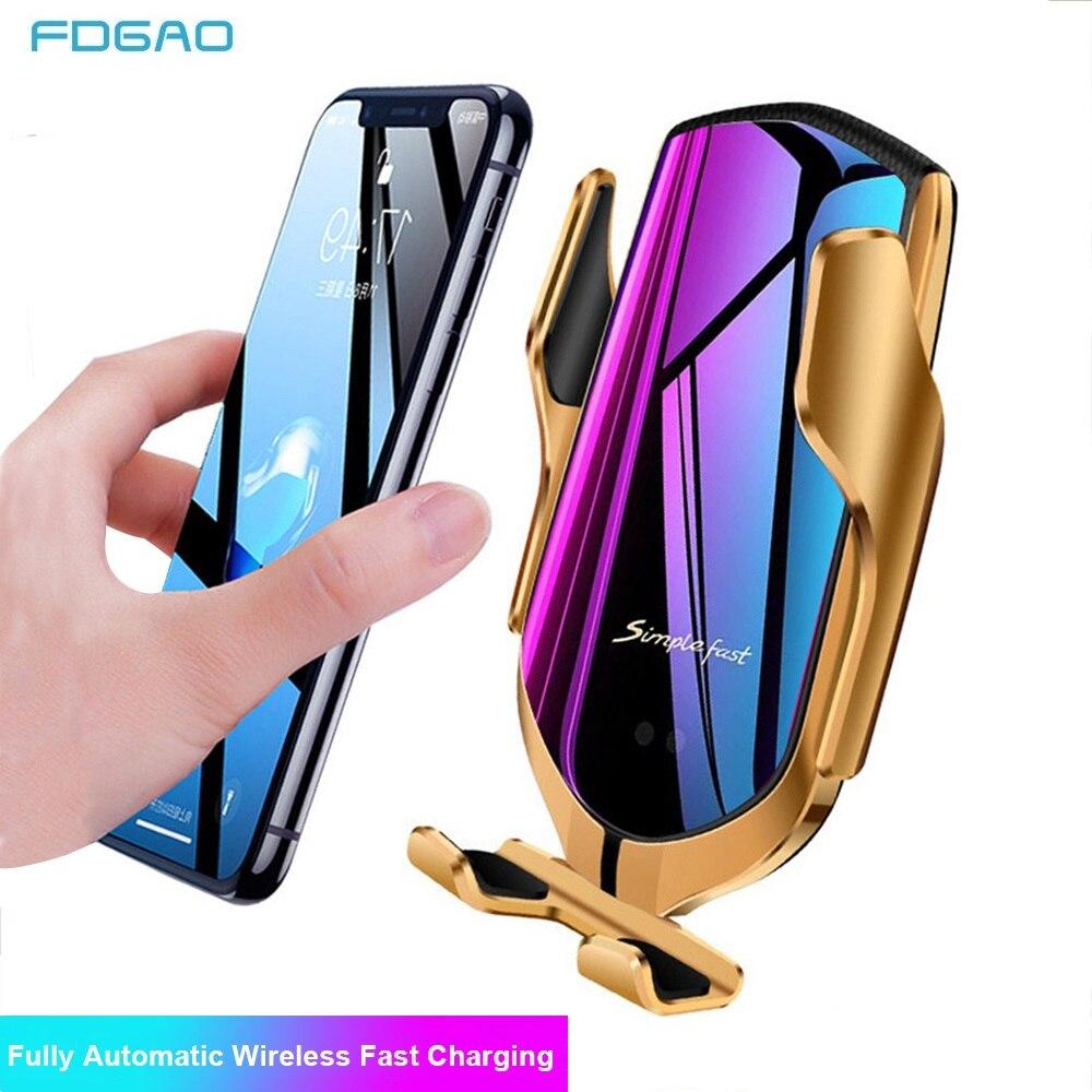 FDGAO 10W רכב אלחוטי מטען אוטומטי הידוק טלפון מחזיק עבור iPhone 11 פרו XS MAX XR אינפרא אדום אינדוקציה צ 'י מטען מחזיק