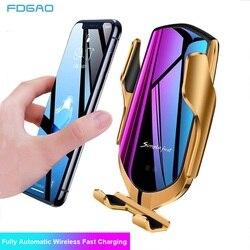 Fdgao 10 w carro carregador sem fio automático de aperto suporte do telefone para iphone 11 pro xs max xr indução infravermelha qi carregador titular