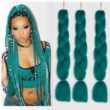 Tresses synthétiques Kanekalon Jumbo, extensions de cheveux ombrés, tresses arc-en-ciel au Crochet, lots de 3 pièces/lot