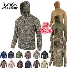 Водонепроницаемая ветровка Мужская охотничья куртка для активного отдыха тактическая походная охотничья куртка быстросохнущая кожа ткань камуфляж анти-УФ пальто