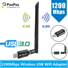 PzzPss USB 3.0 1200Mbps Wifi Adapter Dual Band 5GHz 2.4Ghz 802.11AC Wifi Antenna Dongle Network Card For Laptop Desktop PC