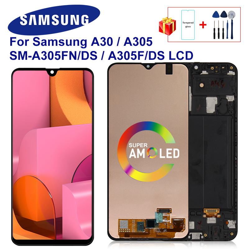 SUPER AMOLED For <font><b>SAMSUNG</b></font> GALAXY <font><b>A30</b></font> 2019 <font><b>LCD</b></font> A305/DS A305F A305FD A305G Touch Screen Digitizer Replace Display For <font><b>Samsung</b></font> <font><b>A30</b></font> image