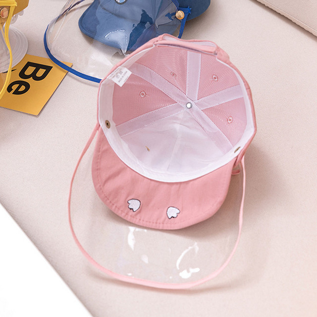 Cute Cartoon Detachable Anti Spitting Saliva Dust Hat Baseball Sun Protection Cap with Face Shield for Kids Children 3