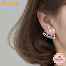 Stud-Earrings Butterfly 925-Sterling-Silver Women Real Hollow Insect Party Trustdavis
