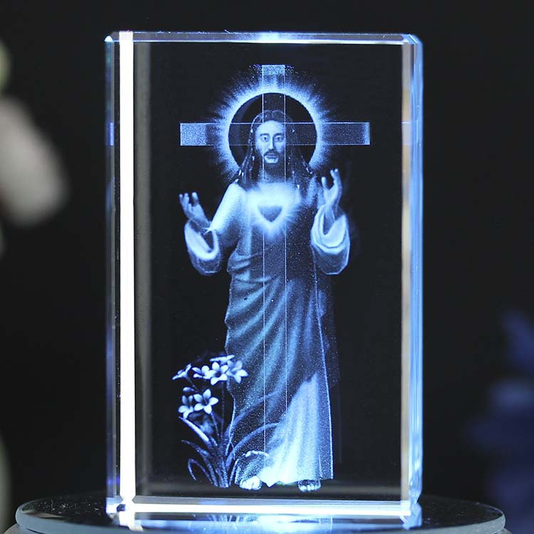 Crystal Jesus Interior Carving Christian Gifts Holy Family Office Creative Ornament Crystal Art Catholicism Artwork Customized