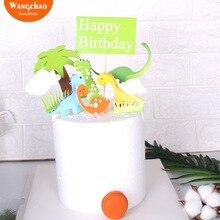 Милый динозавр торт Топпер кокосовой пальмы украшение для торта «С Днем Рождения» зеленая трава дети партии поставки торт аксессуары