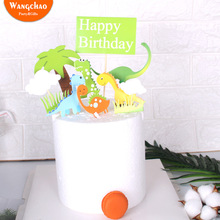 Cute Dinosaur Cake Topper Coconut Tree Happy Birthday Decoration Green Grass Kids Party Supplies Accessories