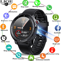 LIGE-reloj inteligente IP68 para hombre, dispositivo resistente al agua, con ECG, Monitor de frecuencia cardíaca y presión arterial, linterna LED, seguidor de actividad/deporte, 2021