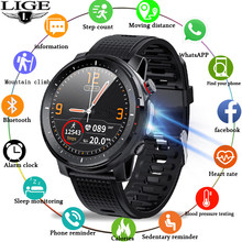 2021 LIGE IP68 Waterproof Smart Watch Men ECG Heart Rate Blood Pressure Monitor LED Flashlight Sports Fitness Tracker smartwatch
