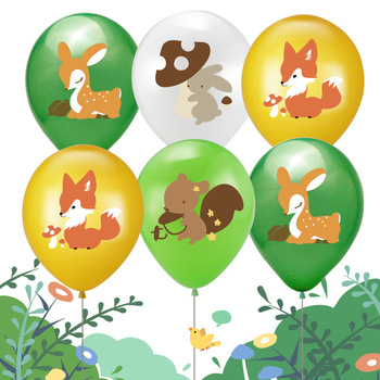 Cartoon Forest Animal Theme Rubber Balloons Baby Bath Anniversary Birthday Party Decorations image