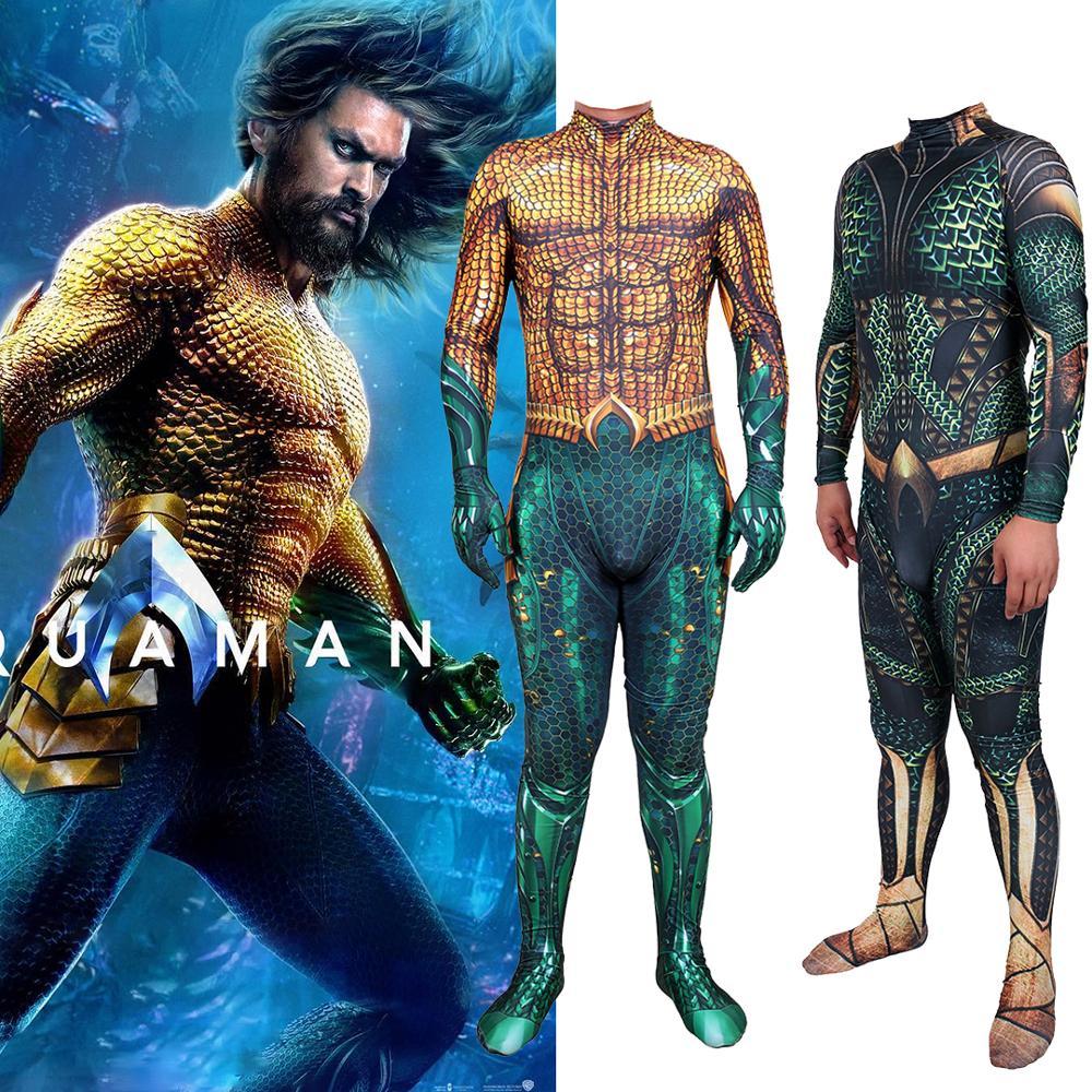 From Movie Aquaman Arthur Curry Cosplay Costume Lycra Spandex Superhero Zentai Swim Bodysuit Suit Jumpsuits Halloween Costume