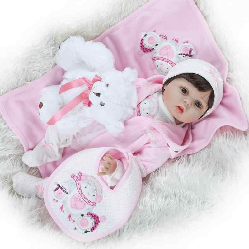 NPK Model Infant Silicone Doll Cute Doll Baby like Pink Clothes