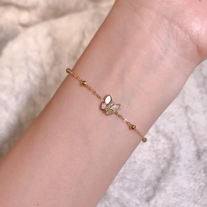 YUN RUO, модный браслет-бабочка из розового золота, подарок на день рождения для женщин, 316, титановая сталь, ювелирное изделие, не меняющийся цв...