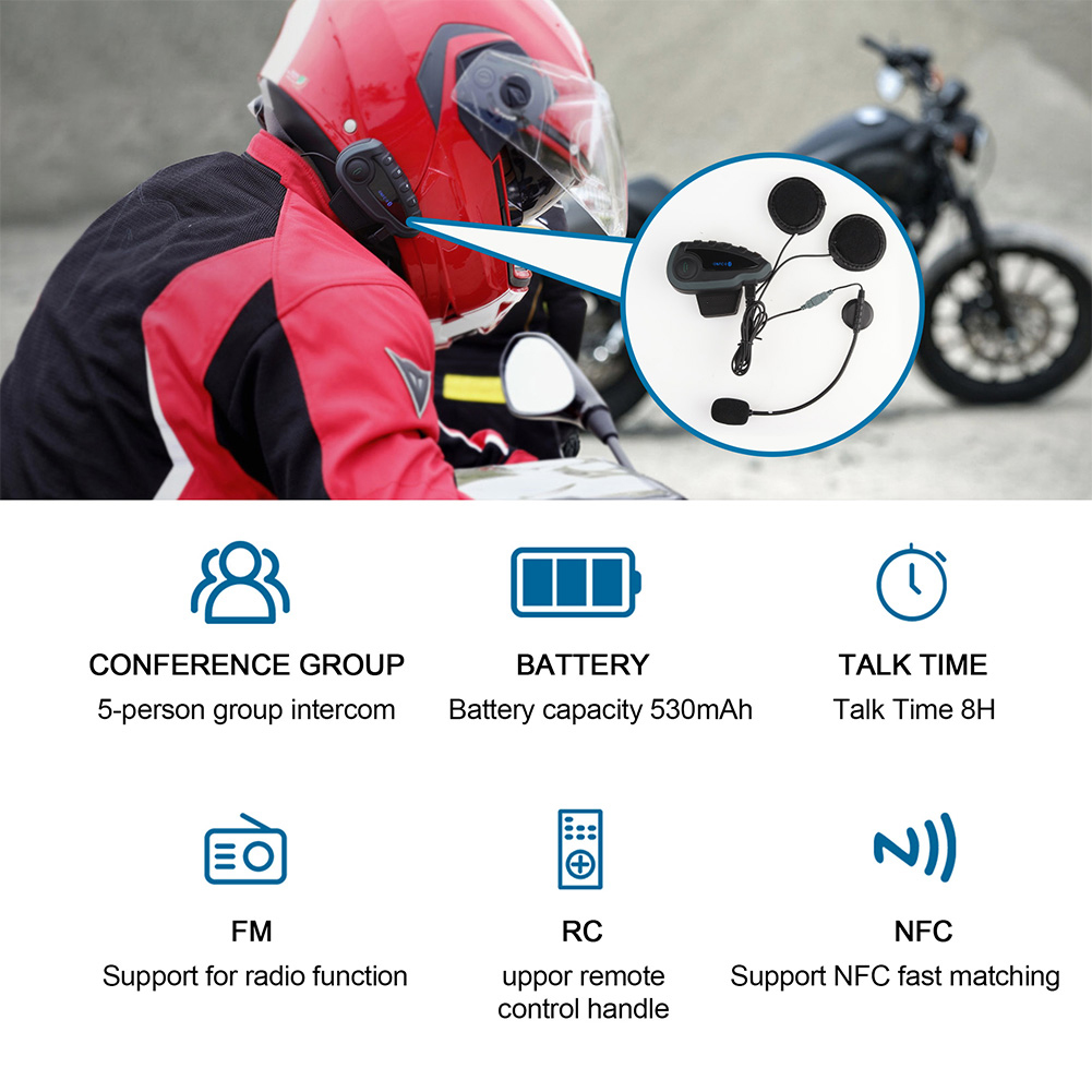 5 Riders Full Duplex Range 1200M Standby 240H Helmet Bluetooth Headset Motorcycle Stereo Headphones Mobile Phone Mountaineering