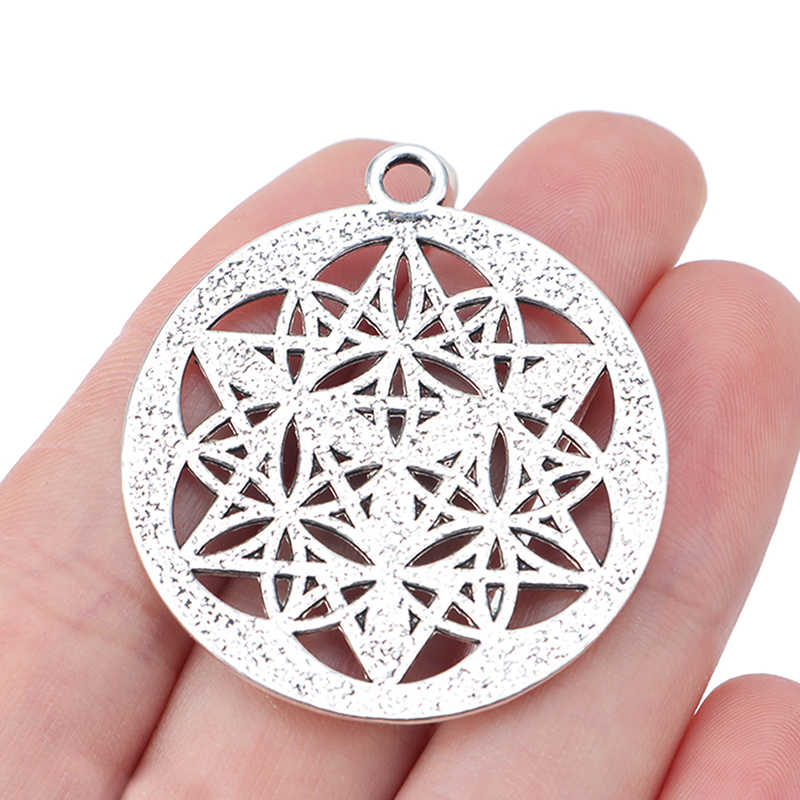 5pcs Antique Silver Tone Large Flower of Life Round Circle Charms Pendants