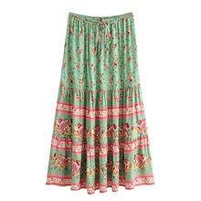 2021 летние богемные Цветочные женские юбки трапециевидной формы