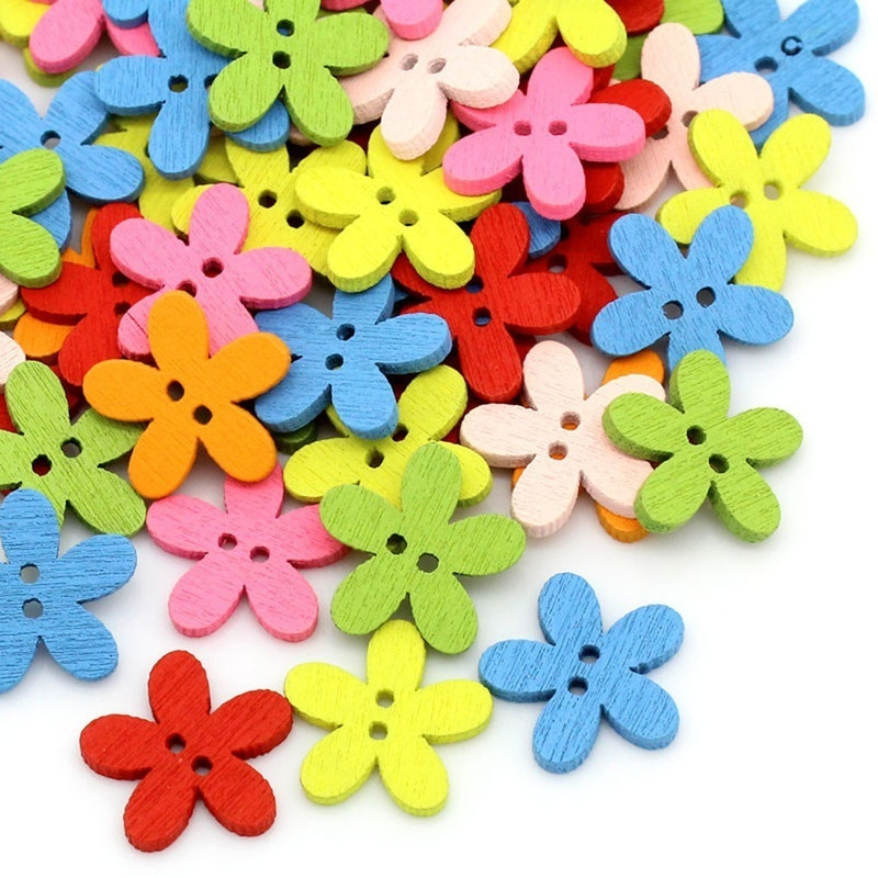 100pcs 14x15mm 2-hole Mixed Flower Wooden Decorative Buttons Suitable For Sewing Clip Arts And Crafts Multicolor