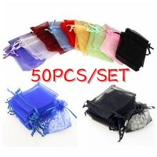 50шт/лот органза сумки 7x9CM ювелирные изделия свадебные красивые конфеты мешок украшения упаковка мешок мешок мода подарки