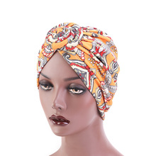 New Women african pattern Knotted flower Turban Muslim Twist Knot India Hat Ladies Chemo Cap Bandanas Hair Accessories