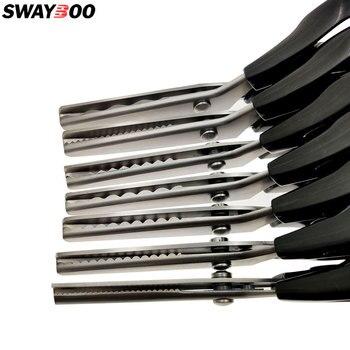 Hoja de acero de alto carbono Sastre corte tijera PVC mango costura rebanada 23,5 CM Zigzag vestido hecho a mano tela rebanada tijeras