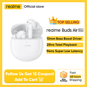 Наушники Realme Buds Air Pro глобальная версия TWS, наушники-вкладыши ANC, ENC, активное шумоподавление, 35 дБ, 25 часов воспроизведения, быстрая зарядка
