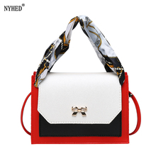 NYHED Small Scarves Bags Women Panel Pu Mini Flap Girls Bow Shoulder Purse