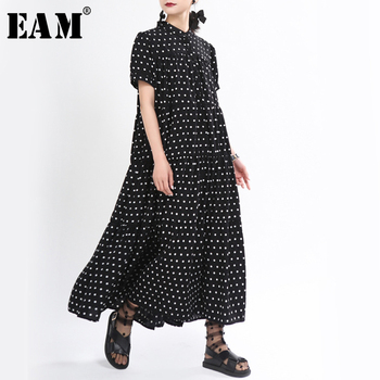 [EAM] Women Dot Printed Temperament Long Dress New Stand Collar Short Sleeve Loose Fit Fashion Tide Spring Summer 2021 1T930 1