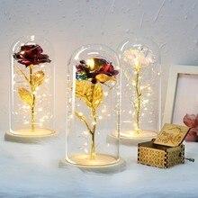 Рождественские украшения для дома, Красавица и чудовище, позолоченные красные розы, светодиодный светильник, стеклянный купол, подарок на день Святого Валентина