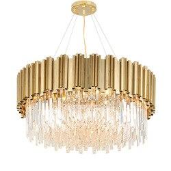 Светодиодный подвесной светильник, Круглый, золотой, из нержавеющей стали