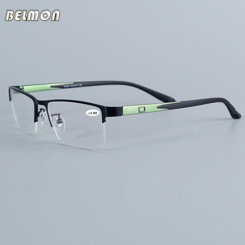 Belmon óculos de leitura homem mulher meia-quadro diopter óculos presbiopia masculino + 1.0 + 1.5 + 2.0 + 2.5 + 3.0 + 3.5 + 4.0 + 12007a