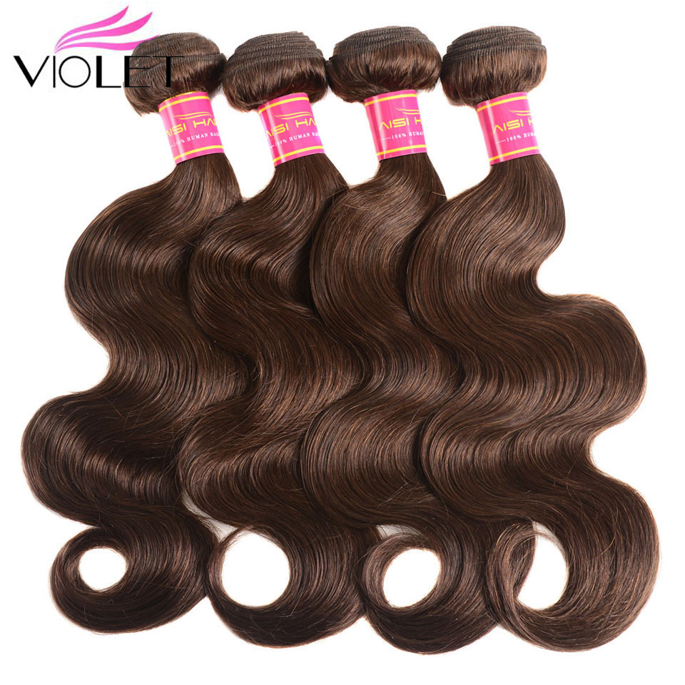 VIOLET Brown Body Wave Brazilian Hair Weave Bundles Color 4 1 3 4 Bundles Non Remy