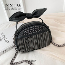 ISXTW 2019 New Wave Korean Version Of The Wild Single Shoulder Messenger Bag Chic Chain Mini Bag Rivet Tassel Bag Bow / D10 canvas handbags 2017 new wave korean version of the bag fight color handbag shoulder bag wild messenger bag