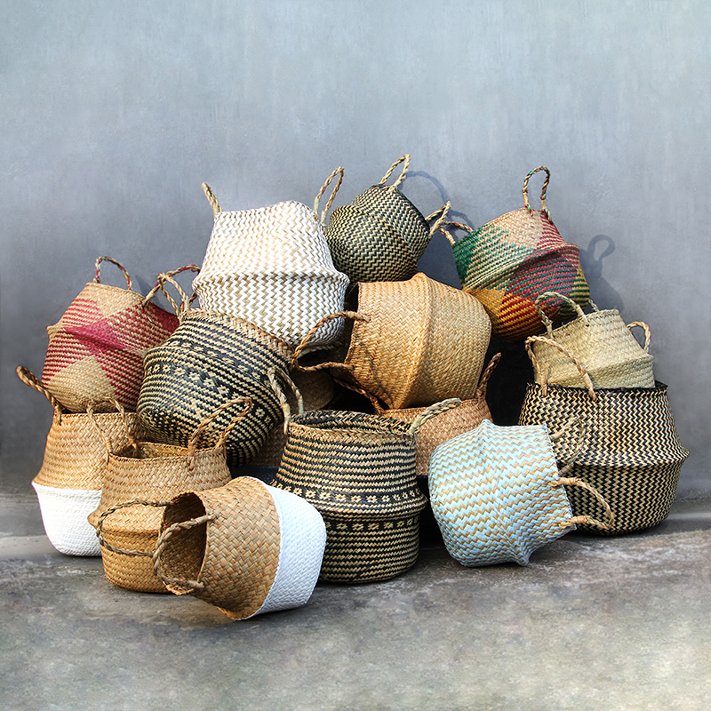 100% Handmade Plant Fiber Fabric Baskets  Woven Basket  Basket Storage Use for Storage or For Potted Plants Baskets Panier Osier
