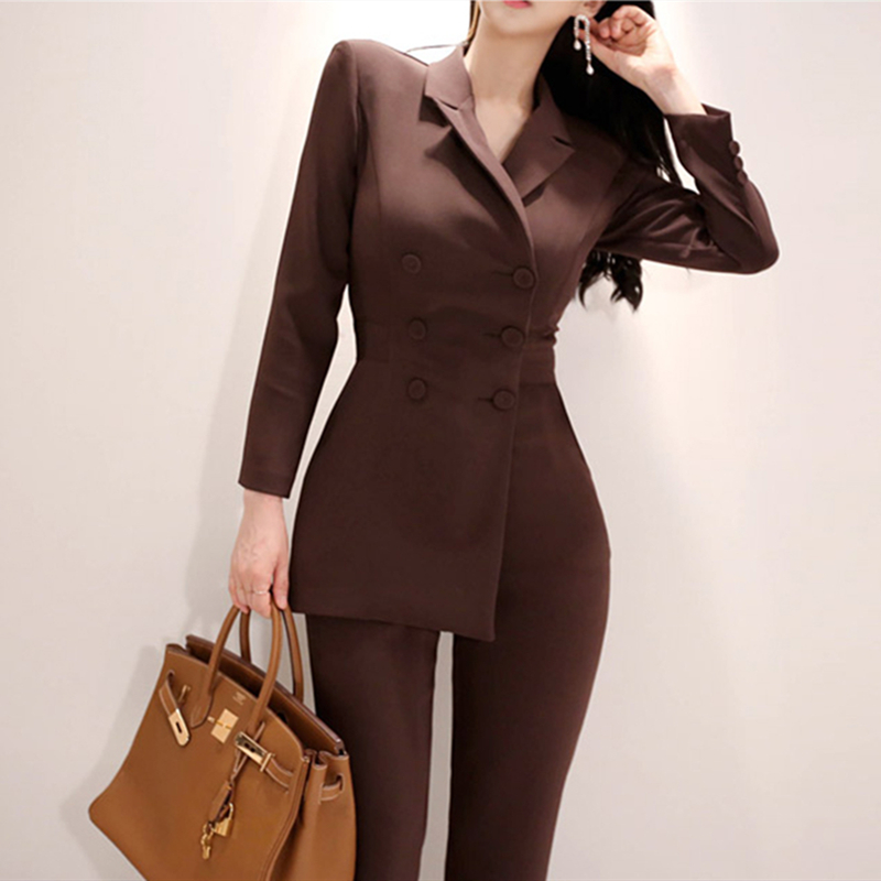 2 Pieces Set Female Wear To Office Business Jumpsuit Women Irregular Jumpsuit Double-breasted Blazer Jacket And Slim Pencil Pant
