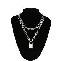 Double couche serrure chaîne collier grunge punk 90s lien chaîne couleur argent cadenas pendentif collier femmes esthétique egirl bijoux