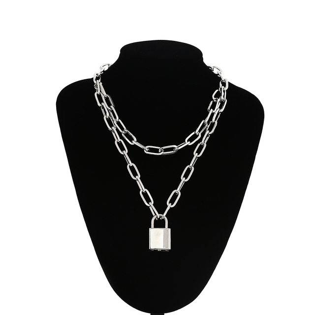 Double layer Lock Chain necklace 1