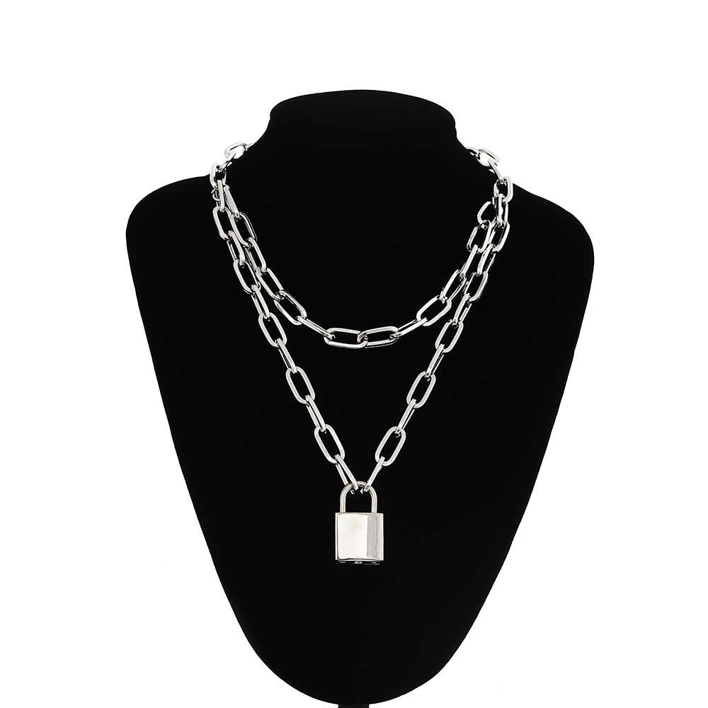 Double layer Lock Chain necklace punk 90s link chain silver color padlock pendant necklace women fashion gothic  jewelry