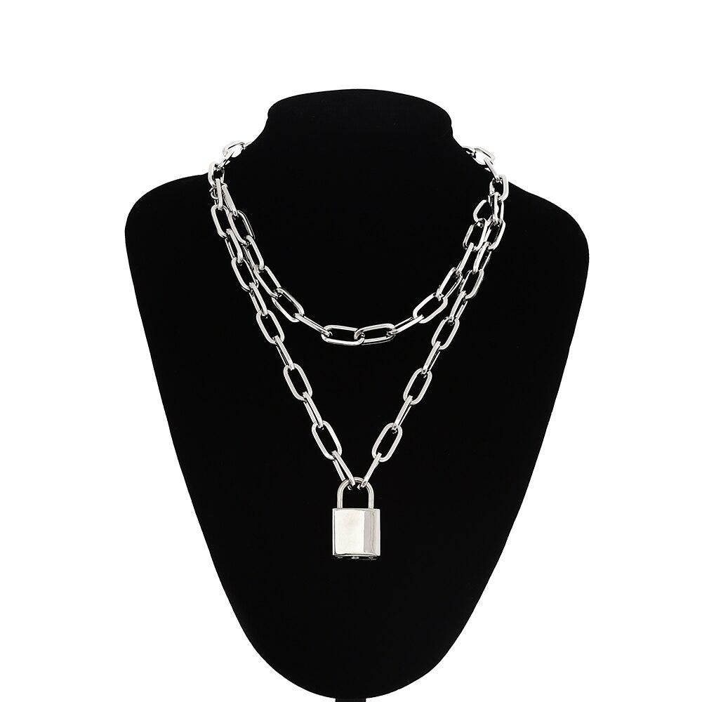 מנעול שרשרת שרשרת עם מנעול תליוני עבור נשים גברים פאנק תכשיטי על צוואר 2020 גראנג 'אסתטי Egirl Eboy אבזרים