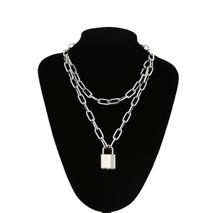 Double layer Lock Chain necklace grunge punk 90s link chain silver color padlock pendant necklace women aesthetic egirl jewelry(China)
