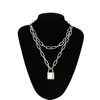 Double layer Lock Chain necklace grunge punk 90s link chain silver color padlock pendant necklace women aesthetic egirl jewelry double layer chain necklace punk 90s chain silver color pendant necklace women aesthetic jewelry xl252