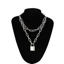 Double layer Lock Chain necklace punk 90s link chain silver color padlock pendant necklace