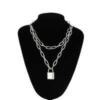 Double layer Lock Chain necklace grunge punk 90s link chain silver color padlock pendant necklace women aesthetic egirl jewelry