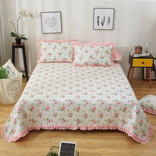 100% de algodón acolchado colcha para niñas Shabby Vintage rosa Floral volantes estilo cama cubierta set almohada shams