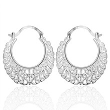 Hot Sell!new vintage jewelry Wholesale earring,silver plated fashion 925 jewelry Earrings,Openwork Flower Earing hollow hoop ear(China)