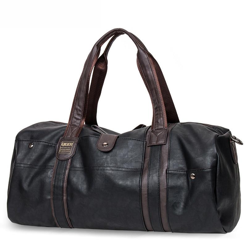 SIXRAYS Weekender масло воск кожаные сумки для мужчин путешествия вещевой мешок портативный сумки на плечо мужская мода сумка для переноски - Color: Black