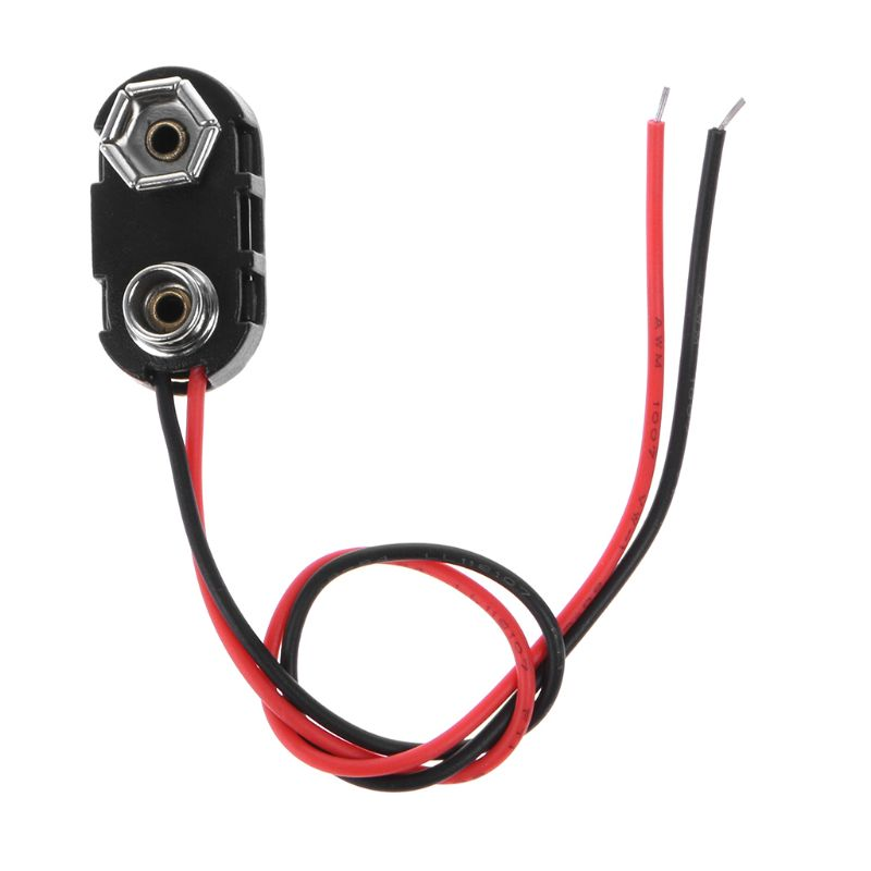 PP3 9V Battery Clip Connector I Type Tinned Wire Leads 150mm Black Red