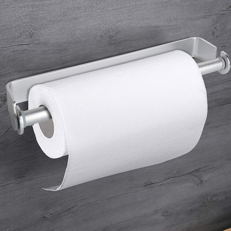 HTHL-Self Adhesive & Wall Mount Paper Towel Holder & Dispenser,Kitchen Tissue Towel Holder Stand Under Cabinet-Silver