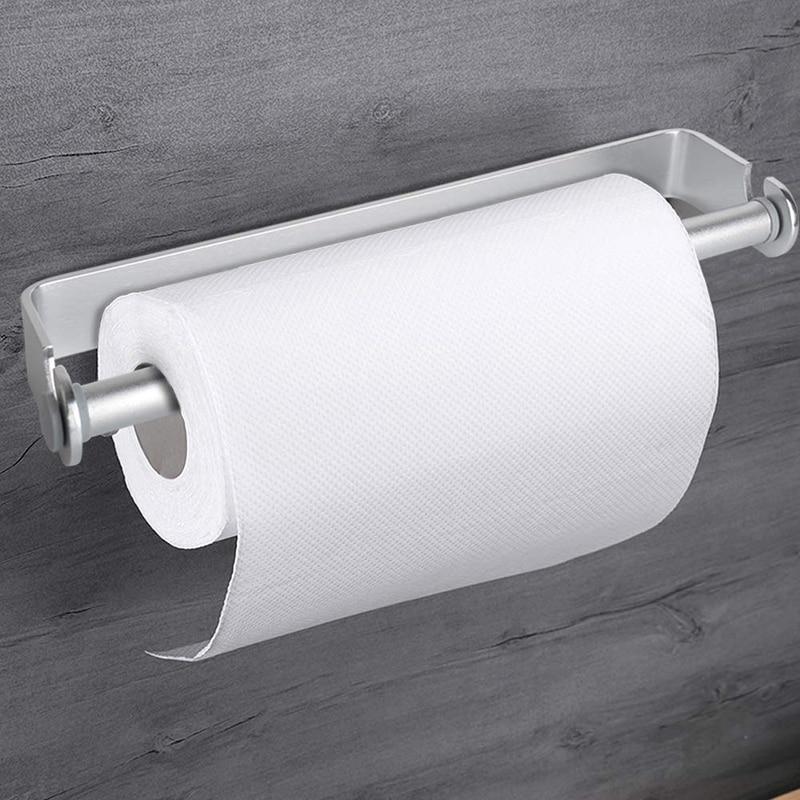 HTHL-Self Adhesive & Wall Mount Paper Towel Holder & Dispenser,Kitchen Tissue Towel Holder Stand Under Cabinet-Silver
